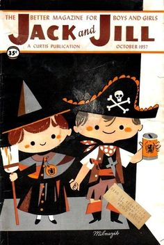 The seriously cute Halloween themed cover of Jack and Jill magazine, October 1957. #vintage #1950s #Halloween
