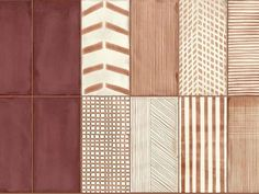 Infinity Terracotta-Look Wall Tile Collection Infinity-Burgundy-Installation-Pattern Frames On Wall, Framed Wall Art, Wall Decals, Wall Stickers, Floor Colors, Wall Colors, Deco Design, Tile Design, Casa Milano