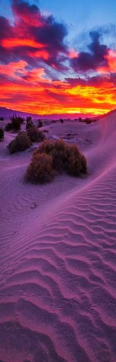 Sunrise at sand dunes, Death Valley National Park, California.Mesquite Flats < this picture looks remarkably similar to sunset over the sand dunes here in Australia, only instead of hills in the distance, it would be the ocean. Beautiful Sunset, Beautiful World, Beautiful Places, All Nature, Amazing Nature, Pretty Pictures, Cool Photos, Death Valley National Park, Ville France