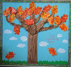 Thinking Tree Display, classroom Display, thinking tree, autumn, leaves, thoughts, think, tree, Early Years (EYFS), KS1 & KS2 Primary Teaching Resources