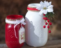 Painted Mason Jars - Christmas Decor - Hand Stamped Tag - Country Chic - Stampin' Up Dasher - Red - White - Ribbon