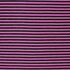 """Mini Black and Pink Stripe Cotton Jersey Blend Knit Fabric - Love this stripe!  Bubblegum pink and black small stripe cotton jersey rayon blend knit.  Fabric is light to mid weight and has a nice stretch, very soft.  Stripes measure just over 1/8"""".  ::  $6.00"""