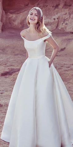 simple style off the shoulder wedding gowns