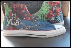 Custom High Top Canvas Painted Converse, Painted Canvas Shoes, Painted Sneakers, Hand Painted Shoes, Canvas Sneakers, Make Your Own Converse, Custom Converse Shoes, Galaxy Shoes, Battle Jacket