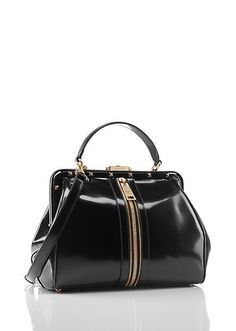 6a4b0544c8a10 Doctor Bag, black leather strong edgy appeal with front zip and studs along  the fastening tab. #bag