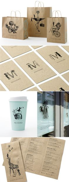 This is inspiring!  Make my designs and print them on gift bags for gifts and holidays!  Branding from Moomah, cool kid cafe/art/craft space in NYC. http://moomah.com/
