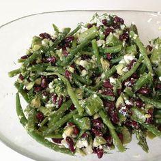 Verdens bedste bønnesalat | SundMedKost Veggie Recipes, Healthy Recipes, Veggie Food, Lchf, Keto, Green Beans, Salads, Food And Drink, Tasty