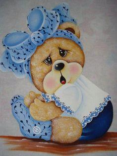 Blog criado por amigas artesãs para compartilhar seus trabalhos e os riscos encontrados na net. Tole Painting, Fabric Painting, Bear Pictures, Cute Pictures, Teddy Bear Drawing, Baby Animals, Cute Animals, Cute Paintings, Embroidery Patterns Free