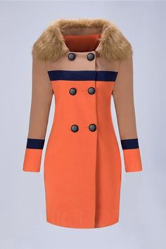 ac026f0ad4 Chicloth Faux Fur Collar Double Breasted Color Block Woolen Coat Moda  Evangelica