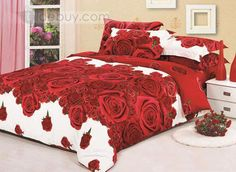 white and red rose printed 4 piece bed sheet sets tidebuy com cotton bedding