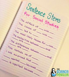 Social Studies Sentence Stems help students understand what it is that they are learning and communicate about it, helps students with special needs and provides focus for lessons.