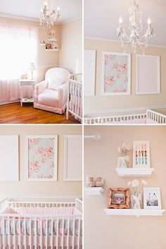 pink peach and white nursery