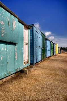 Colourful huts on the Isle of Wight.