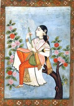 Woman with tambur, seated on a branch of a tree  (582)     Woman with tambur, seated on a branch of a flowering tree. India, Deccan, Golconda. c. 1680. Opaque watercolour and gold on paper. h. 34.0 x w. 16.5 cm. Acquired 1974. Robert and Lisa Sainsbury Collection. UEA 582