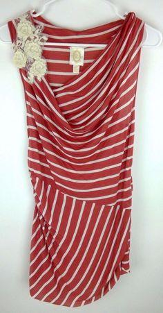 2c8760bbe79 Anthropologie Ric Rac Draped Top Pink White Modal Sz M Sleeveless Floral  Crochet