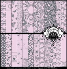 Baby Pink and Grey Butterfly and Bird Digital Scrapbook Paper, 24 Sheets 12x12 or 8.5x11 on Etsy, $5.50