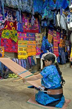 Zinacantan, Chiapas, Mexico - The backstrap loom is also used by the Huichol and Cora in Jalisco and Nayarit.