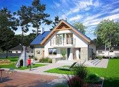 Projekt domu Puk 3 131,04 m2 - koszt budowy - EXTRADOM Small Buildings, Home Fashion, Mansions, House Styles, Home Decor, Home Layouts, Decoration Home, Manor Houses, Room Decor