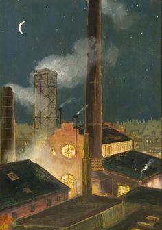Attributed to HANS BALUSCHEK  (GERMAN, 1870 - 1935)    Nächtliche Fabrik. Circa 1917 Art Nouveau, Liberty, German, Painting, Modernism, Fire Places, Magic Realism, Social Realism, Auction