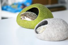 Hedgehog bed / small animal cave / small pet bed / felted pet house / small pet furniture / ferret cocoon / nap pouch / hamster house.