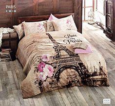 100% Turkish Cotton Ranforce Paris Eiffel Tower Theme Themed Full Double Queen Size Quilt Duvet Cover Set Bedding 4 Pcs!! Made in Turkey