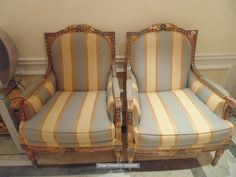 Lot 545 - A pair of Italian late 18th century Neoclassical style armchairs parcel-gilt and polychrome Old