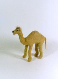 Miniature Dromedary Camel, Needle Felted Wool Llama, Fiber Art Soft Sculpture Doll - pinned by pin4etsy.com