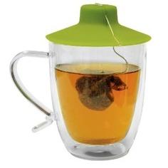 Double walled glass mug with Tea Bag Buddy.