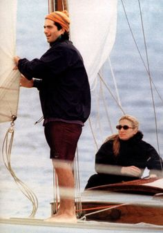 JFK, Jr. and Carolyn Bessette Kennedy on the water