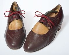 OMG 1920s cut out oxfords in chocolate brown leather with burgundy laces (!!!!!!!)  via Never Never Traders @Etsy