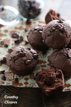Black Forest Double Chocolate Chunk Muffins - www.countrycleaver.com