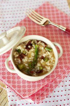 arroz de espargos com tomate seco