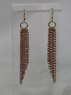 Copper Chain Earrings Long Copper Graduated by AribellaJewelry
