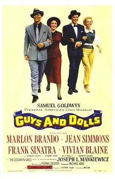 Guys And Dolls (1955) - In New York, a gambler is challenged to take a cold female missionary to Havana, but they fall for each other, and the bet has a hidden motive to finance a crap game.