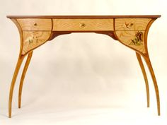 Tamo Ash Veneer | art nouveau desk in tamo ash wood veneer