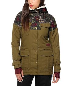 This military inspired snowboard jacket is made with a durable water-resistant material that keeps the water out, while the soft micro fleece and tricot lining helps insulate body heat so you can stay warm and dry without compromising style.