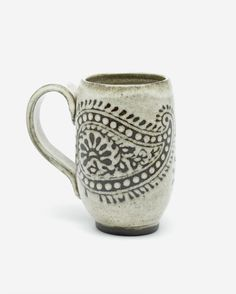 Tall Paisley Mug, Antique White Glaze. by Foxtail Pottery