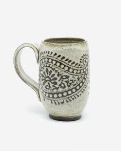 16oz Tall Paisley Mug, Antique White Glaze. Etsy by Foxtail Pottery