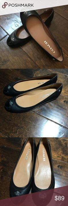 Coach Chelsea Black Leather Flats New Brand new women Coach Chelsea Black Leather Flats New Size:5.5M Smoke/Pet free home Coach Shoes Flats & Loafers
