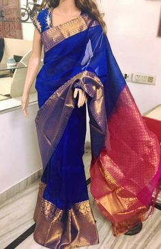 Lovely color combo blue saree
