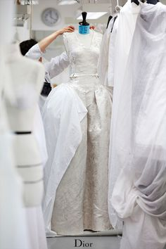 Conception of the robe a la française in the Dior couture ateliers in Paris before the Autumn-Winter 2014-15 show.