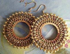 Beadwork Hoop Earrings  GOLDEN GODDESS Seed Bead by WorkofHeart