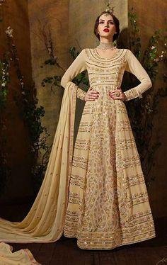 Stylish Beige Designer Anarkali Salwar Suit