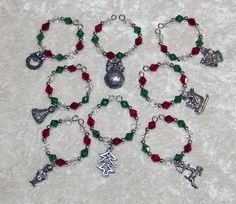 8 pc Christmas wine charms - Pewter charms with swarovski beads. $20.00, via Etsy.