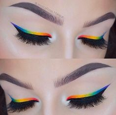 eyeliner rainbow perfect brows Rainbow eyeliner Perfect browsYou can find Pride makeup looks and more on our website Makeup Eye Looks, Cute Makeup, Pretty Makeup, 50s Makeup, Heavy Makeup, Makeup Set, Makeup Style, Simple Makeup, Sombra Neon