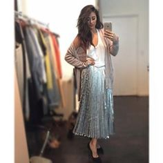 When she showed off this silver disco skirt that was probably sewn by real life angels. | 21 Times Shay Mitchell Was A True Style Goddess