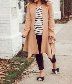 My Favorite Neutrals to Wear. Black striped top, camel coat, pink accessories. | Pittsburgh Lifestyle Blog, Zoë With Love