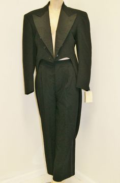 Vintage 1930's Mens Wide Lapel Black Tuxedo Tails Jacket Pants Suit
