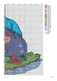 Borduurpatroon Winnie the Pooh kruissteek *Cross Stitch Pattern ~Vrienden in Regen *Rain 3/3~
