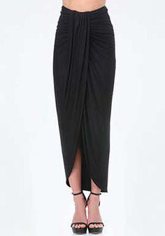 Shirred Front Maxi Skirt